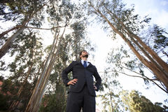 Power businessman at the forest Stock Photo