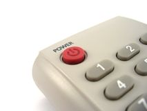 Power button. Tv remote controle with power button close up Stock Photo
