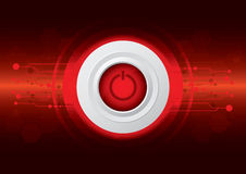 Power button. On dark red technology background Stock Photography