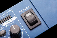 Power button. On equalizer control panel Royalty Free Stock Photography