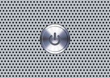 Power Button. On and off round button over metallic surface Stock Photography