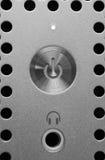 Power button. Close-up shot, metallic texture Stock Images