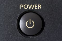 Power button. A power button from an electronic device stock photos
