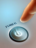 Power button. Index finger pressing a lit power button. Digital illustration Royalty Free Stock Images
