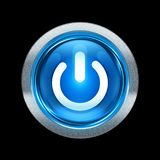 Power button blue with metallic edging. Isolated on black background Stock Photography