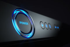 Power button on control panel Blue-ray player Stock Images
