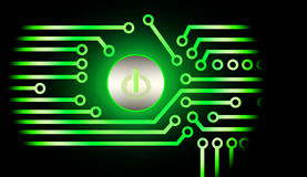 Power button. Green power button abstract circuit Royalty Free Stock Photos