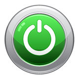 Power Button Icon / EPS. A vector image of a glossy green power button icon Stock Photography