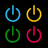 Power button icon set. Black background. Polygonal Stock Photography