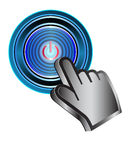 Power button. Illustration of power button pressing Stock Photo