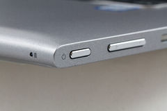 Power button on laptop computer, Closeup.  Stock Images