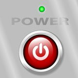 Power Button ON LED Background. A bright red power on button on a metal background, with a green LED light vector illustration