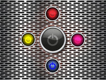 Power button on metal background Royalty Free Stock Image