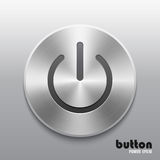 Power button with metal brushed aluminum chrome texture Royalty Free Stock Photos