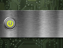 Power button on on metal plate Royalty Free Stock Photo