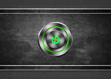 Power button on metal texture background Stock Photo