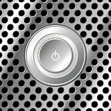 Power button over metal Royalty Free Stock Photography