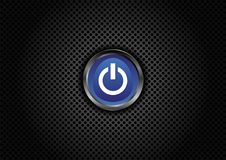 Power button on perforated grill Royalty Free Stock Images