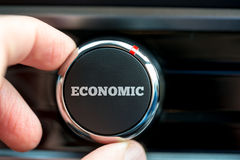 Power button reading - Economic - on an item of electronic equip Stock Images