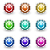 Power button set. Isolated over white Stock Image