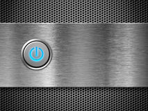 Power button on silver grate. Power button on over silver grate royalty free stock images
