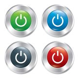 Power button. Turn on round stickers collection. Stock Image