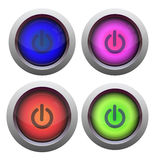 Power buttons. Set of colorful power buttons in white background Royalty Free Stock Photography