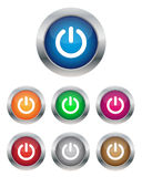 Power buttons. Collection of power buttons in various colors Stock Photo