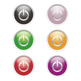 Power Buttons. With different colours Royalty Free Stock Image