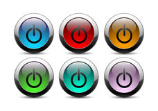 Power buttons with gray frame Royalty Free Stock Images