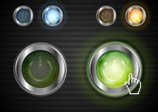 Power buttons with the same illumination Stock Images