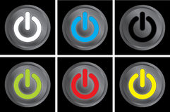 Power buttons. A set of power buttons glowing in different colors. Black background Stock Photos