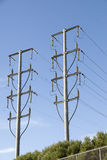 Power cabels over head,end posts. Stock Photos
