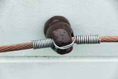 Power cable in  insulators Royalty Free Stock Photos