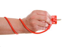 Power cable on white background in hand Royalty Free Stock Image