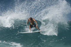 Power Carve. Example of real powerful surfing Royalty Free Stock Photography