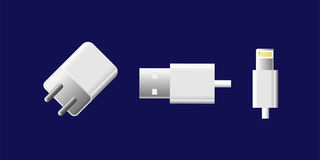 Power charger. White color of power charger for mobile phone isolate on blue background royalty free illustration