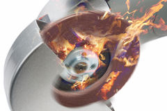 Power circular saw in fire.composite image Royalty Free Stock Image