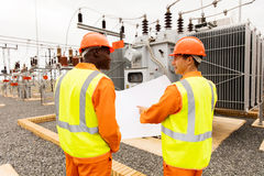 Power company electricians royalty free stock photos