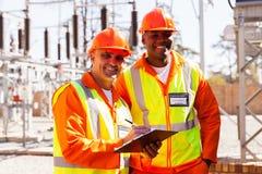 Power company engineers Stock Image