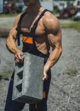 Power concept. Brick in fit arms with biceps and triceps muscle, power. Muscular power. Real power lies in his hands Royalty Free Stock Photo