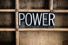Power Concept Metal Letterpress Word in Drawer Royalty Free Stock Images