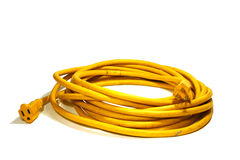 Power Cord. Yellow Power Cord Stock Photo