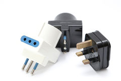 Power cord with plugs and sockets Royalty Free Stock Image