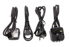Power Cords. On White Background stock images