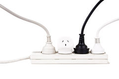 Power Cords Isolated. Power cords with powerboard isolated on white royalty free stock images