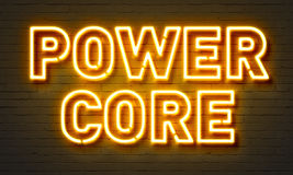 Power core neon sign on brick wall background. Royalty Free Stock Images