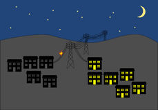 Power cut in town at night clip art Stock Photography