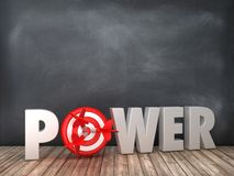 POWER 3D Word with Target on Chalkboard Background. High Quality 3D Rendering stock illustration