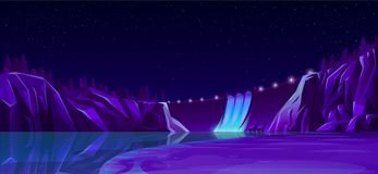 Power dam with road lights beautiful nightscape stock image